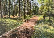 Acrylic painting of Cardinham Woods