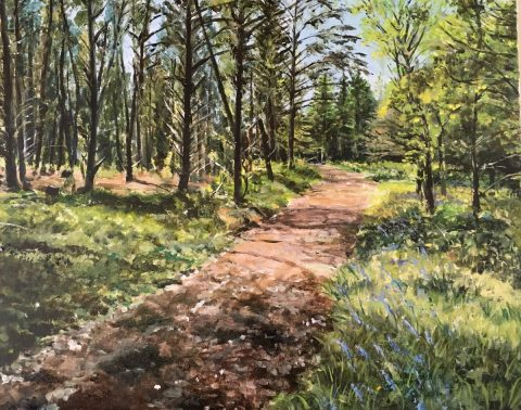 Acrylic painting of Cardinham Woods
