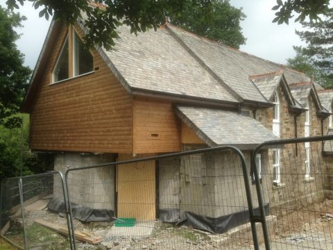 Swiss chalet style extension on the original chapel