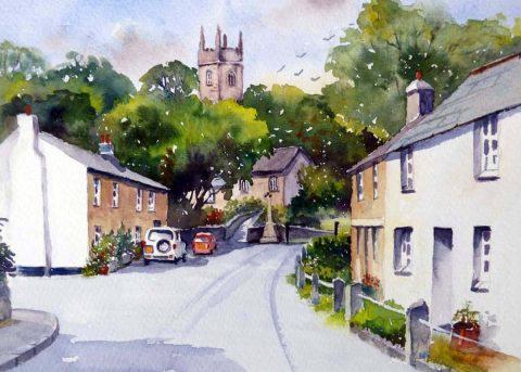 Altarnun Village, landscape painting by Brenda Murphy